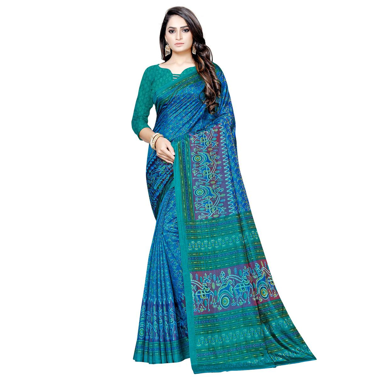 Imposing Blue Colored Casual Printed Art Silk Saree