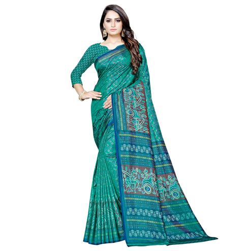 Lovely Green Colored Casual Printed Art Silk Saree