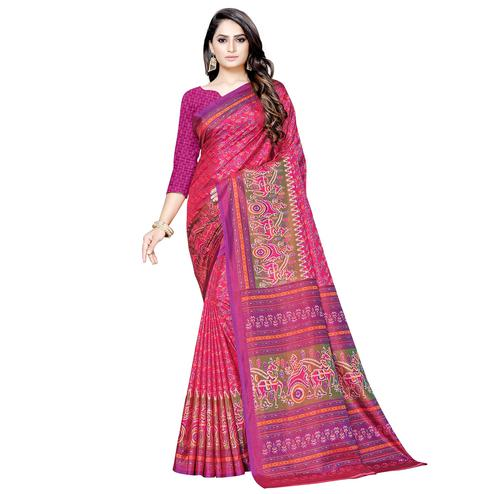 Majesty Pink Colored Casual Printed Art Silk Saree