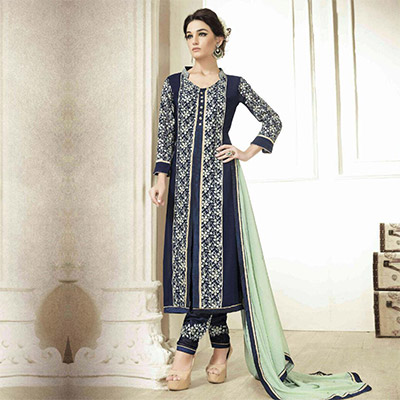 Dark Blue Georgette Suit