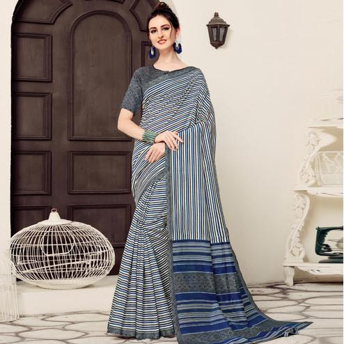 Ethnic White-Navy Blue Colored Casual Printed Bhagalpuri Silk Saree