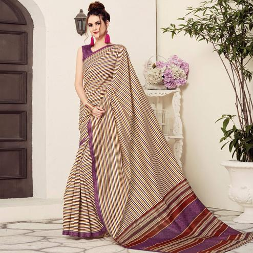 Ravishing Cream-Beige Colored Casual Printed Bhagalpuri Silk Saree