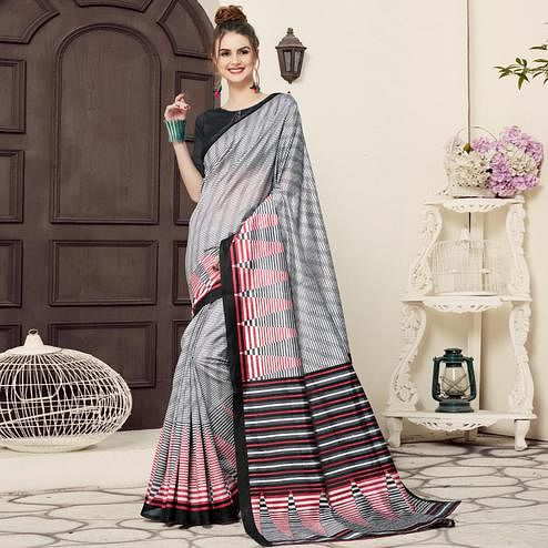 Staring Gray-Black Colored Casual Printed Bhagalpuri Silk Saree