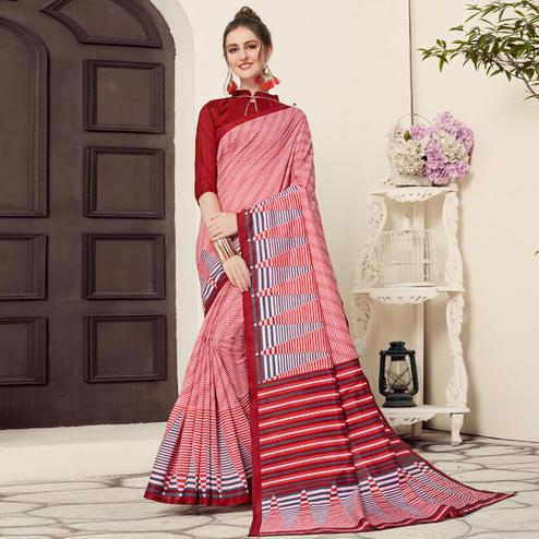 Dazzling Red Colored Casual Printed Bhagalpuri Silk Saree