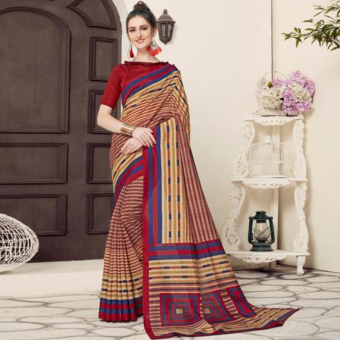 Surpassing Beige-Blue Colored Casual Printed Bhagalpuri Silk Saree