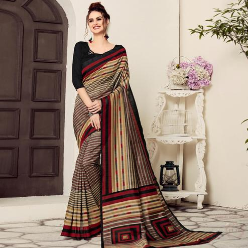 Eye-catching Beige-Black Colored Casual Printed Bhagalpuri Silk Saree