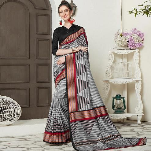 Ideal Gray-Black Colored Casual Printed Bhagalpuri Silk Saree