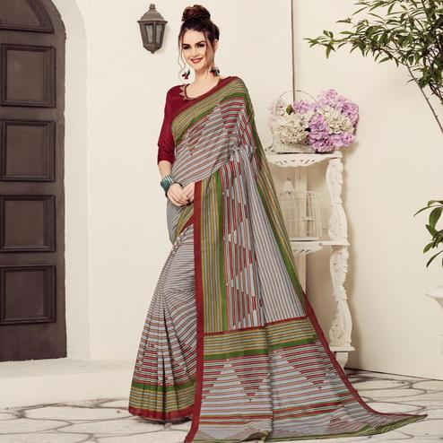 Mesmerising Gray Colored Casual Printed Bhagalpuri Silk Saree