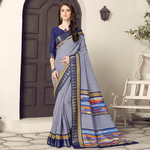 Intricate White-Navy Blue Colored Casual Printed Bhagalpuri Silk Saree
