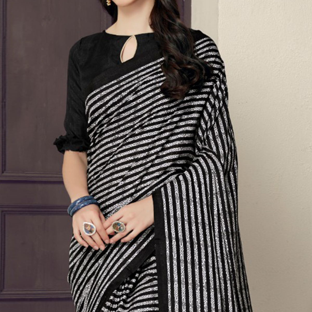 Arresting Black-White Colored Casual Printed Bhagalpuri Silk Saree