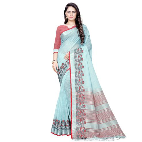 Sophisticated Sky Blue Colored Festive Wear Woven Linen Saree