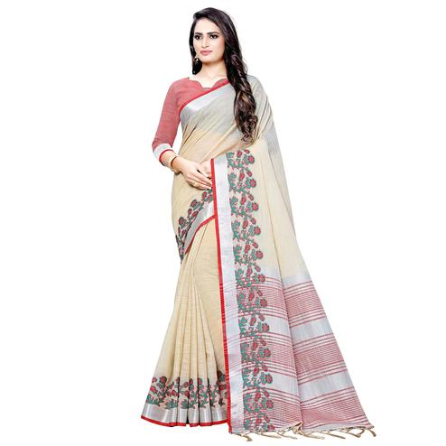 Trendy Cream Colored Festive Wear Woven Linen Saree