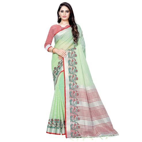 Elegant Green Colored Festive Wear Woven Linen Saree