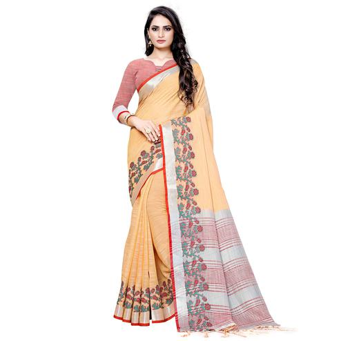 Energetic Orange Colored Festive Wear Woven Linen Saree