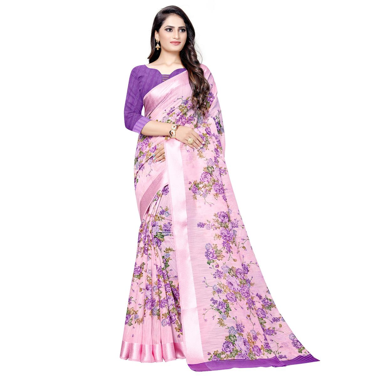 Exceptional Pink Colored Casual Floral Printed Linen Saree