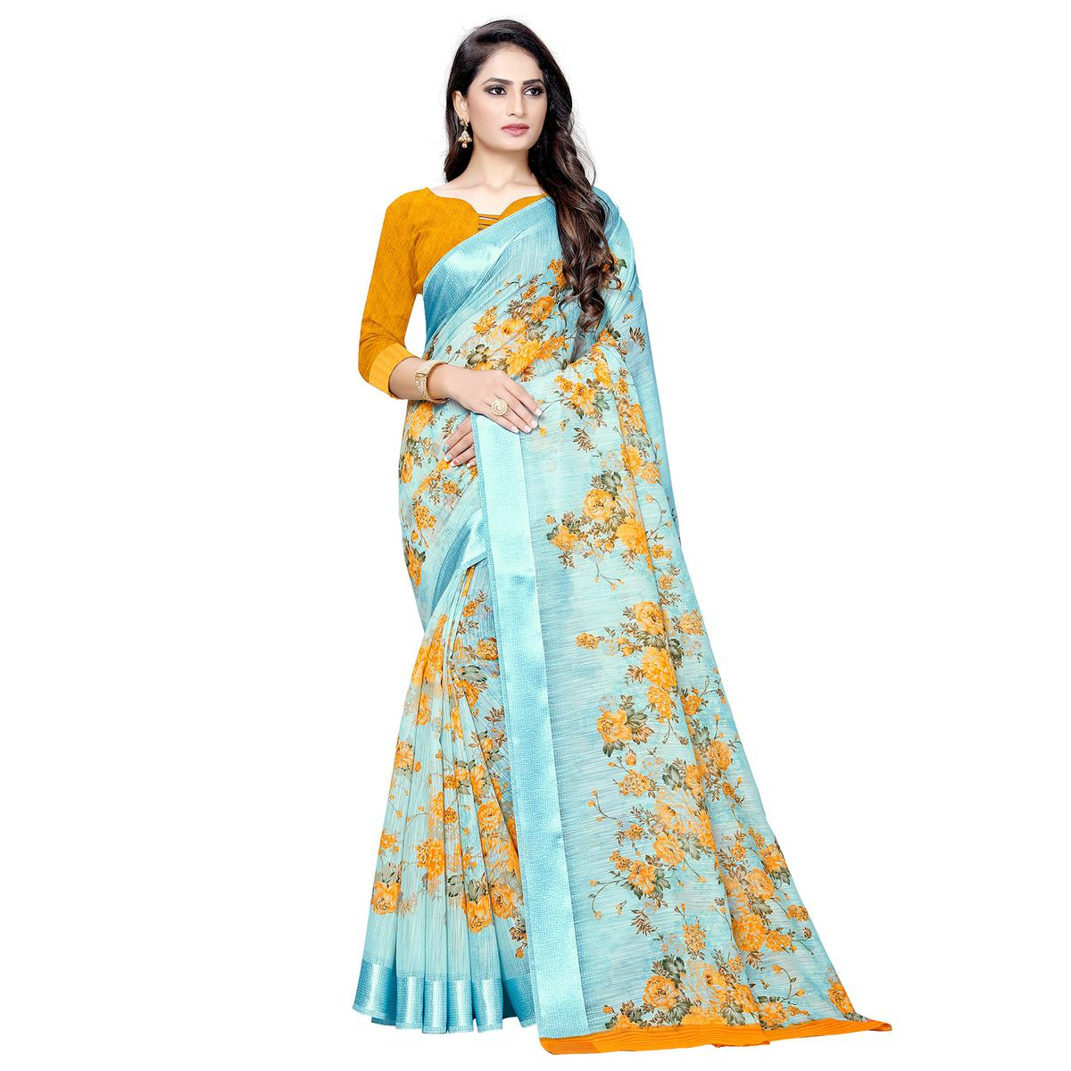 Gleaming Sky Blue Colored Casual Floral Printed Linen Saree