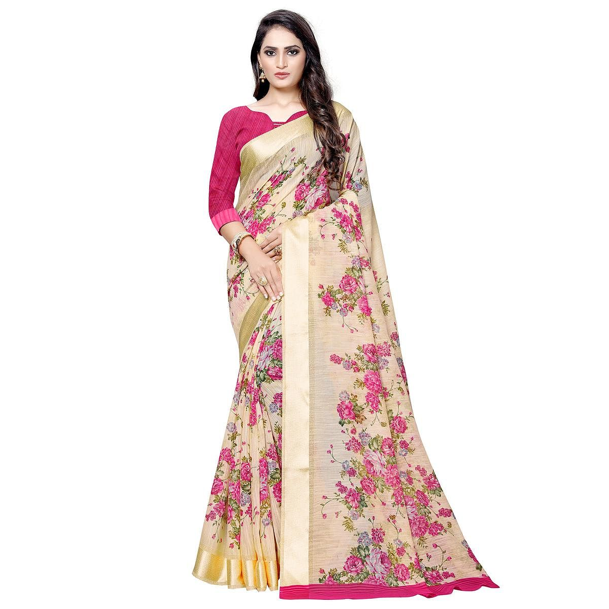 Mesmeric Peach Colored Casual Floral Printed Linen Saree