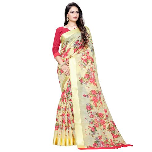 Unique Yellow Colored Casual Floral Printed Linen Saree