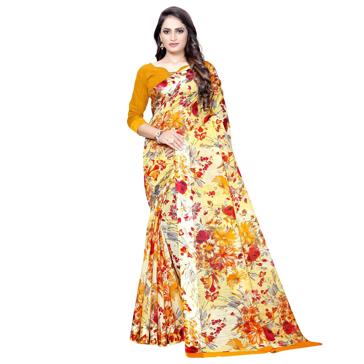 Refreshing Yellow Colored Casual Floral Printed Linen Saree