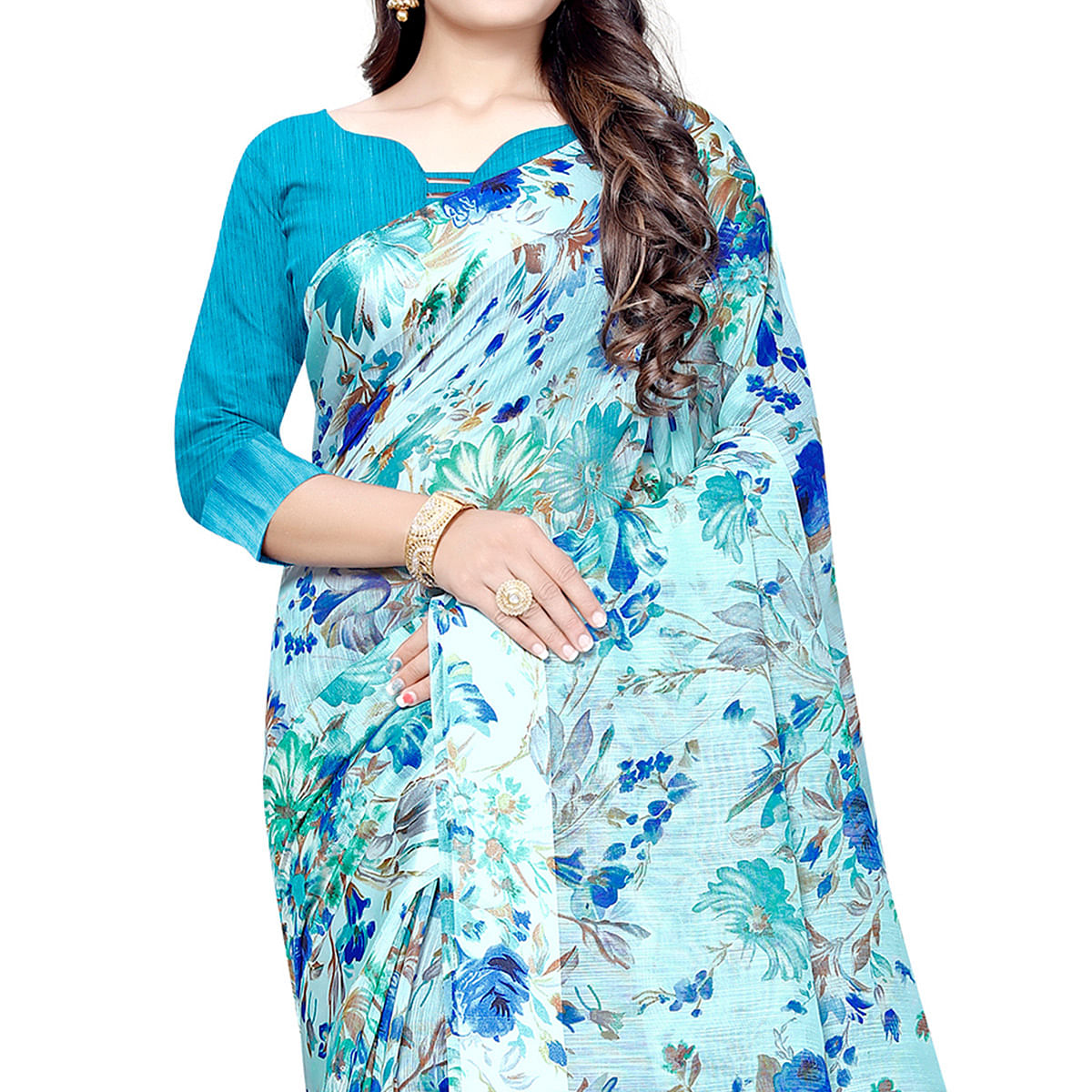 Magnetic Sky Blue Colored Casual Floral Printed Linen Saree