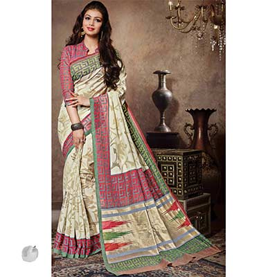 Off White Bhagalpuri Silk Saree