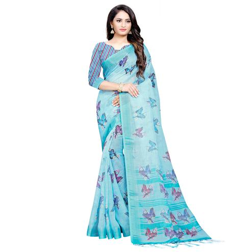 Excellent Sky Blue Colored Casual Digital Printed Linen Saree