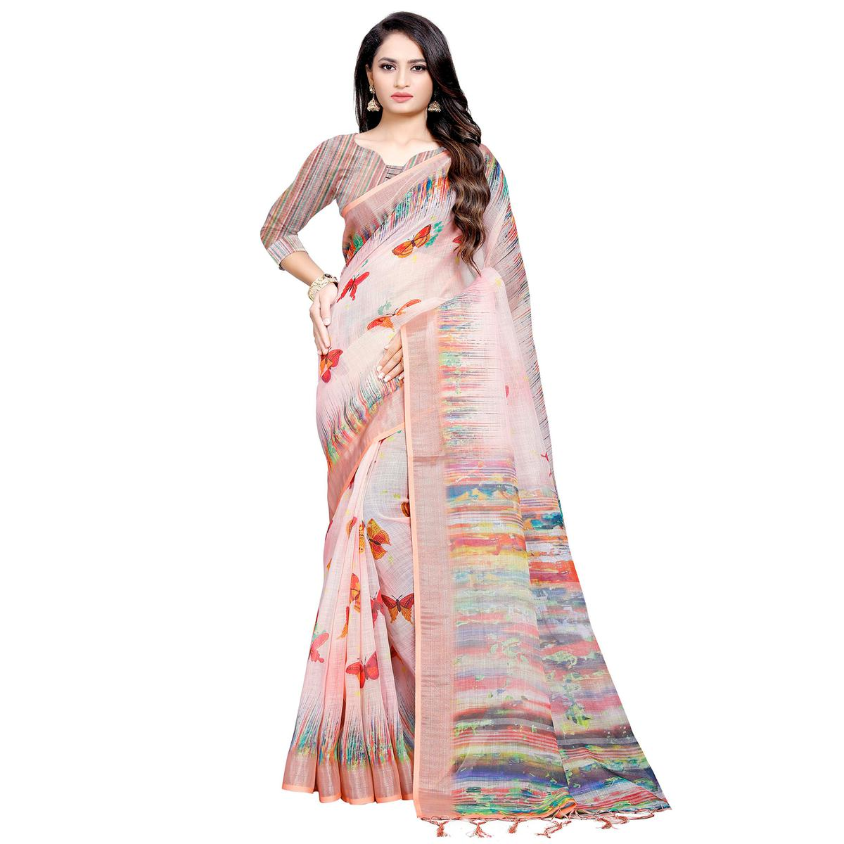 Preferable Pink Colored Casual Digital Printed Linen Saree
