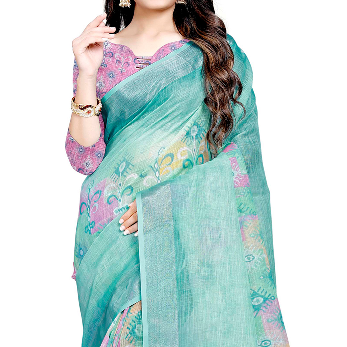 Alluring Sea Green Colored Casual Digital Printed Linen Saree
