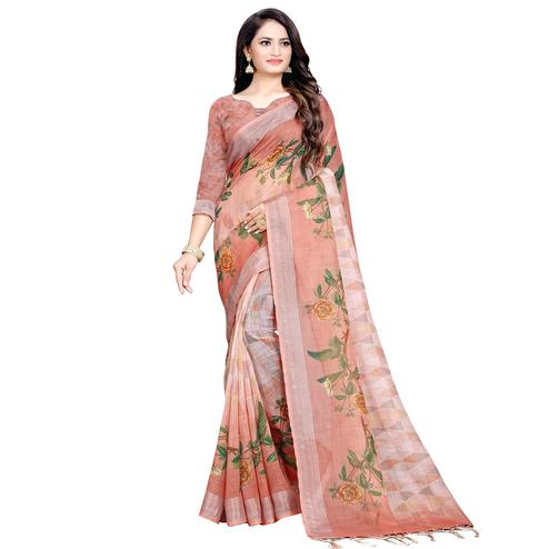 Hypnotic Peach Colored Casual Digital Printed Linen Saree