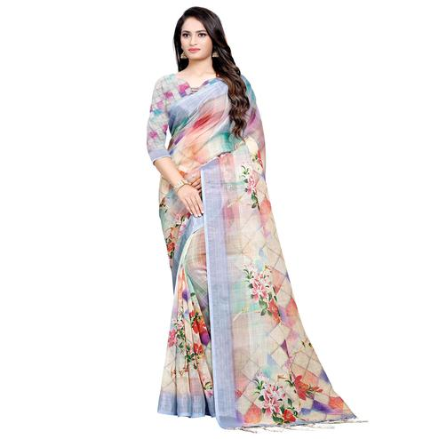 Sensational Multi Colored Casual Digital Printed Linen Saree