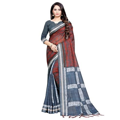 Flaunt Gray-Maroon Colored Casual Digital Printed Linen Saree