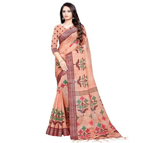 Stunning Peach Colored Casual Digital Printed Linen Saree