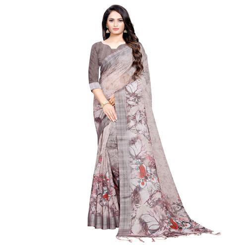 Appealing Beige Colored Casual Digital Printed Linen Saree