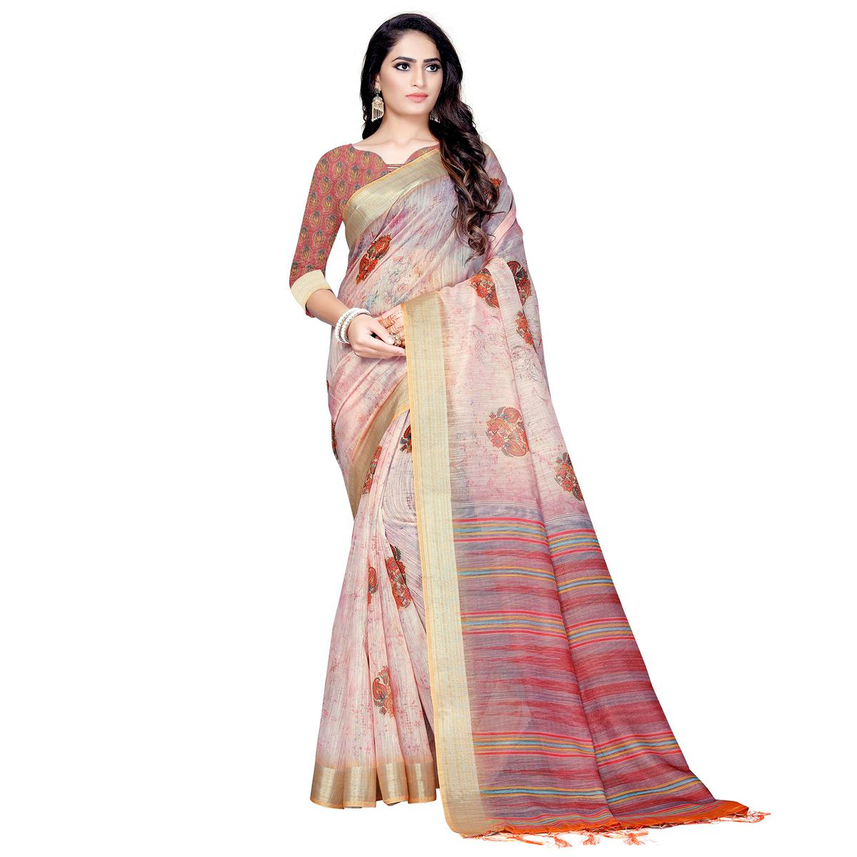 Groovy Peach Colored Casual Digital Printed Linen Saree