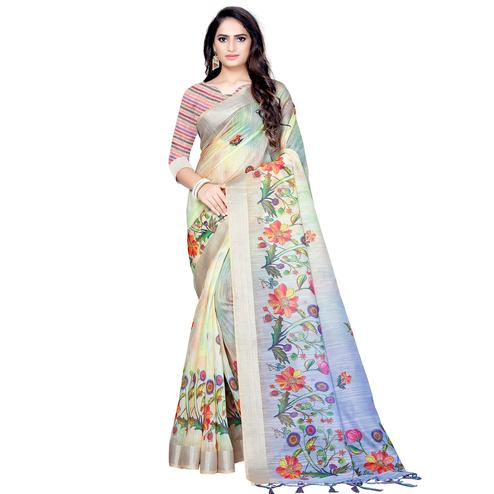 Prominent Multi Colored Casual Digital Printed Linen Saree