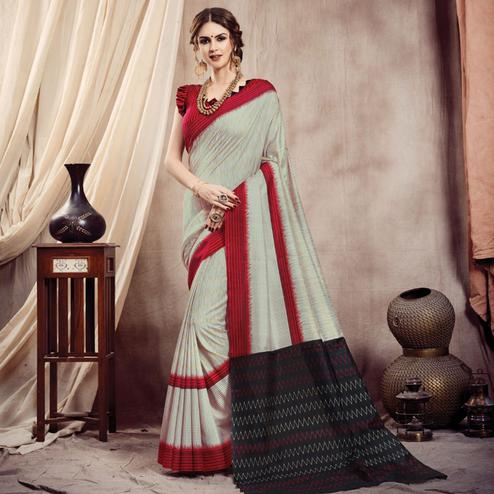 Gleaming Beige Colored Casual Printed Bhagalpuri Silk Saree