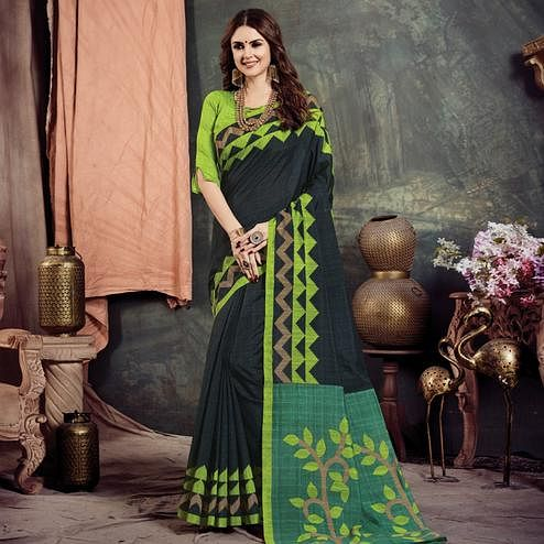 Exceptional Black Colored Casual Printed Bhagalpuri Silk Saree