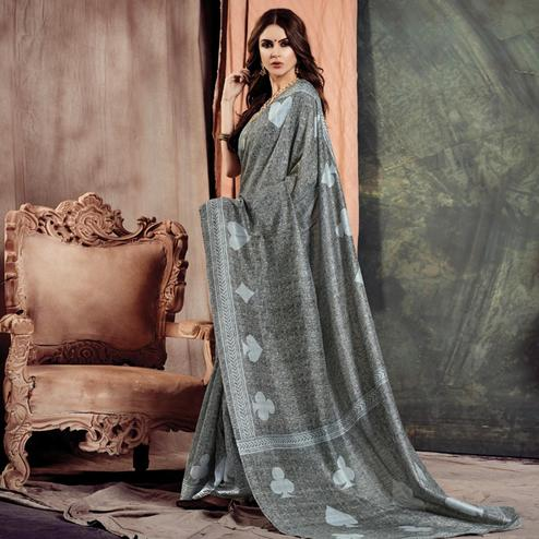 Glowing Grey Colored Casual Printed Bhagalpuri Silk Saree