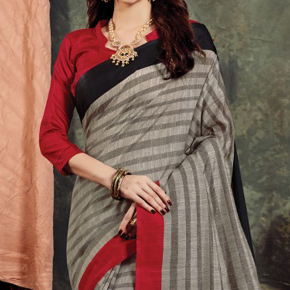 Energetic Grey Colored Casual Printed Bhagalpuri Silk Saree