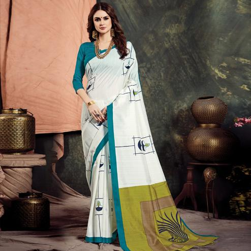 Pleasant White Colored Casual Printed Bhagalpuri Silk Saree