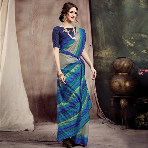 Radiant Beige-Blue Colored Casual Printed Bhagalpuri Silk Saree