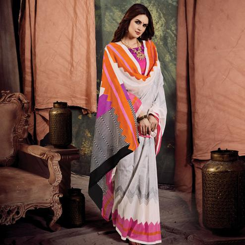 Desirable White Colored Casual Printed Bhagalpuri Silk Saree