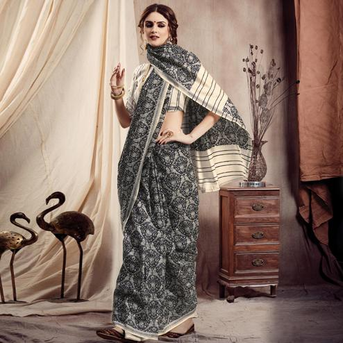 Elegant Black Colored Casual Printed Bhagalpuri Silk Saree