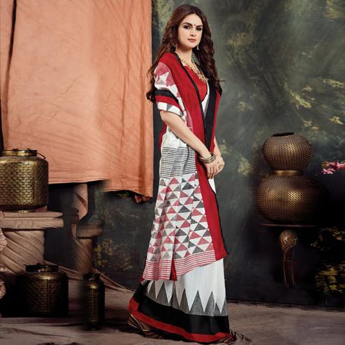 Trendy White Colored Casual Printed Bhagalpuri Silk Saree