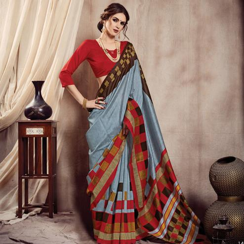 Sophisticated Grey Colored Casual Printed Bhagalpuri Silk Saree