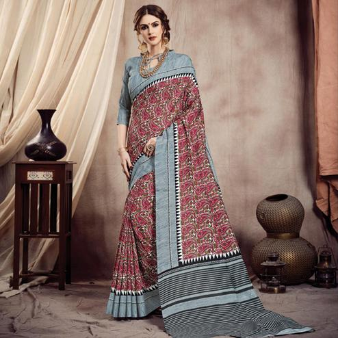 Exotic Red-Grey Colored Casual Printed Bhagalpuri Silk Saree