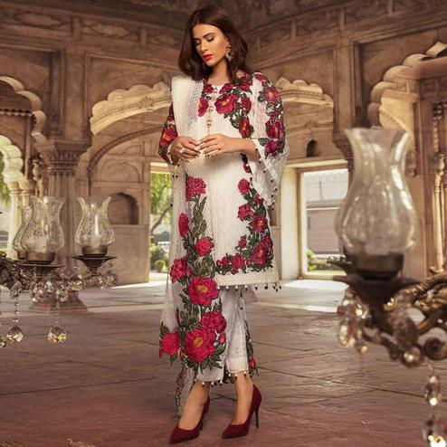Flamboyant White Colored Partywear Embroidered Georgette Pant Style Suit