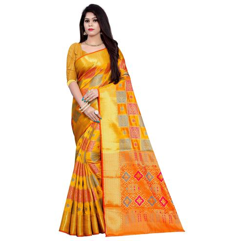 Trendy Mustard Yellow Colored Festive Wear Woven Banarasi Silk Saree
