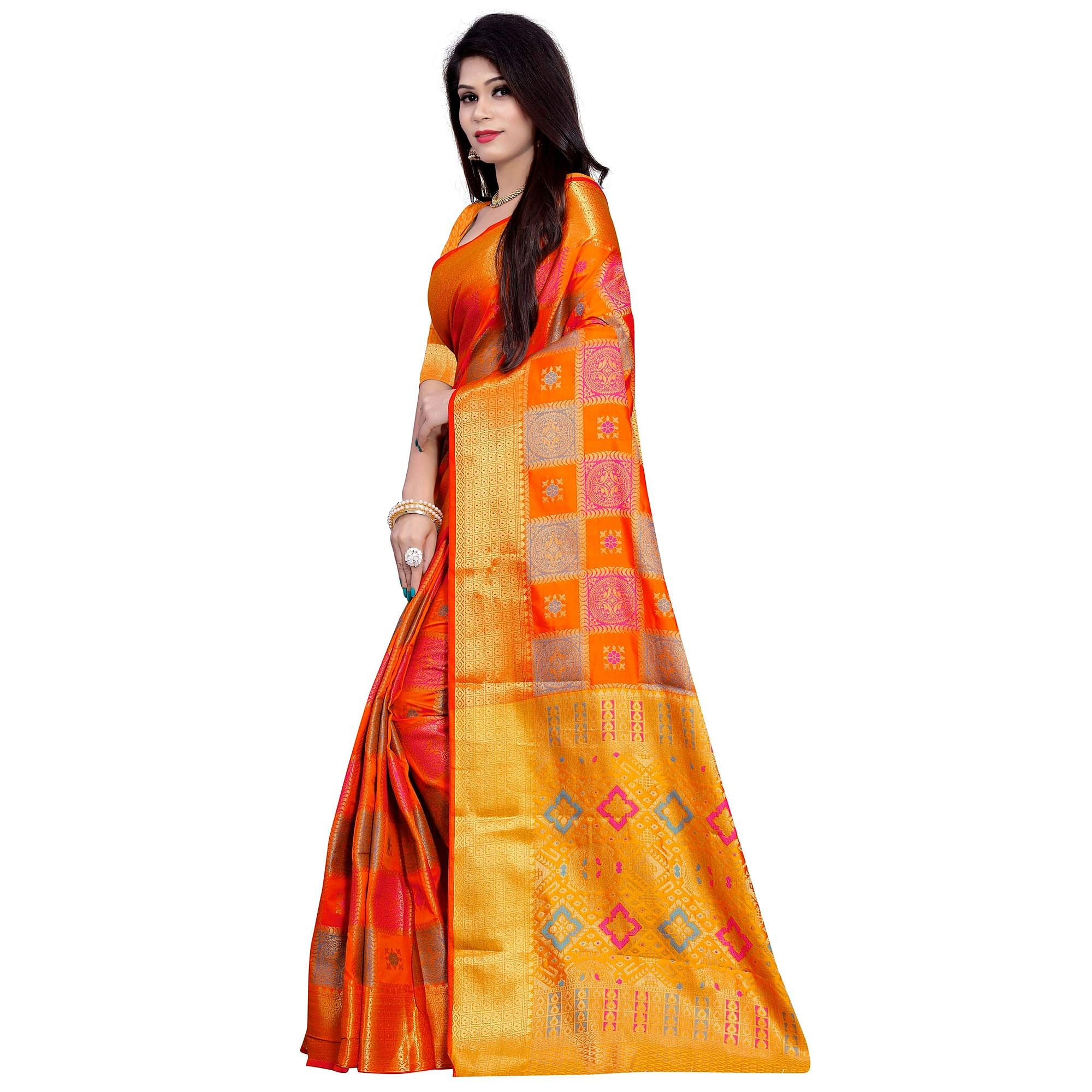 Elegant Orange Colored Festive Wear Woven Banarasi Silk Saree
