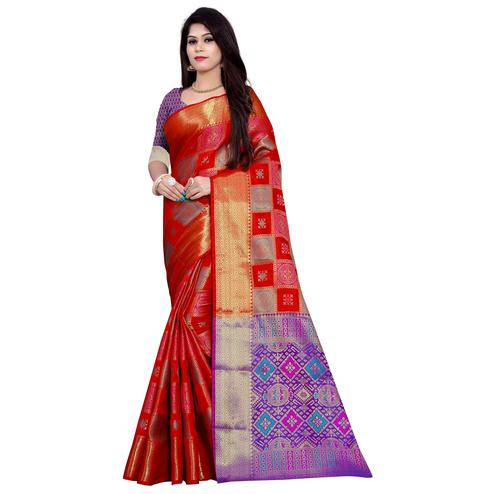 Radiant Red Colored Festive Wear Woven Banarasi Silk Saree